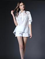 AJIDUO® Damen Hemdkragen 1/2 Länge Ärmel Shirt & Bluse Weiß-A6899