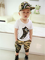 Boy's Casual/Daily Geometric Clothing SetCotton Summer / Spring Green / White