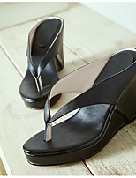 Women's Sandals Summer Flip Flops Leather Outdoor Wedge Heel Others Black / White Others