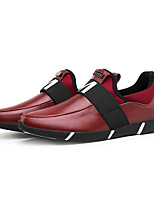 Men's Sneakers Spring / Fall Comfort Leather Casual Flat Heel Slip-on Black / Red Sneaker
