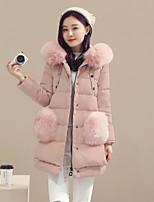 Women's Solid Pink / Black / Gray Down CoatCute Hooded Long Sleeve