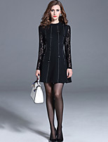 Women's Plus Size/Casual/Party Street chic A Line/Sheath Dress Lace Patchwork Stand Black/Gray Rayon/Nylon Fall /Winter