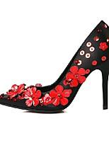 Damen-High Heels-Kleid-Satin-Stöckelabsatz-Spitzschuh-Schwarz / Rot