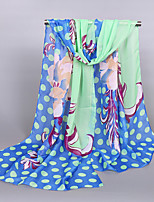Women's Chiffon Flowers Round Print Scarf Red/Blue/Purple/Pink