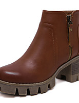 Women's Boots Fall / Winter Comfort / Round Toe / Closed Toe  Casual Platform Zipper Black / Brown Walking