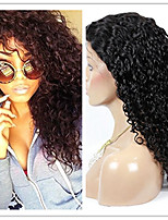 Unprocessed Natural Black Color Brazilian Virgin Human Hair Kinky Curly Lace Front Wig with Baby Hair