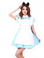 Cosplay Costumes Fairytale / Maid Costumes Movie Cosplay Blue Solid Dress / Headpiece Halloween / Christmas / New Year Female Polyester