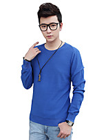 Men's Solid Casual / Work / Formal / Sport / Plus Size PulloverCotton Long Sleeve Black / Blue / White / Gray