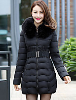 Women's Solid Blue / Red / Black Padded CoatStreet chic Hooded Long Sleeve