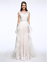 Lanting Bride® A-line Wedding Dress Court Train Jewel Lace / Tulle with Appliques / Crystal