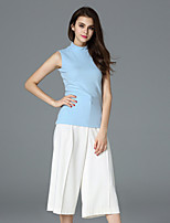 FRMZ  Women's Casual/Daily Simple Summer Tank TopSolid Turtleneck Sleeveless Blue Cotton Opaque
