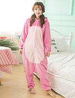 Unisex Cashmere / Polyester Cute Cartoon One-piece Pajama Winter Thick Warm Sleepwear Pink