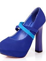 Черный / Синий / Розовый-Женский-Для прогулок / Для праздника / На каждый день-Дерматин-На толстом каблуке-На каблуках-Обувь на каблуках