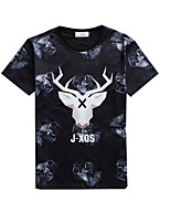 Print-Informeel / Sport-Heren-Katoen / Polyester-T-shirt-Korte mouw Blauw