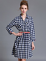 Women's Plus Size / Casual/Daily Simple Shirt DressPlaid Shirt Collar Knee-length  Sleeve Blue Cotton Fall