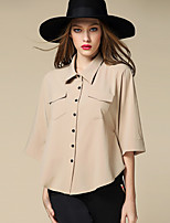 BURDULLY  Women's Going out Street chic All Seasons ShirtSolid Shirt Collar Length Sleeve Medium