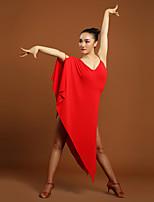 Latin Dance Dresses Women's Training Viscose Ruffles 1 Piece Black / Red Latin Dance Natural Dress
