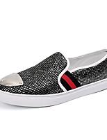 Herren-Sneaker-Büro / Lässig / Sportlich-Leder-Flacher Absatz-Komfort-Schwarz / Silber