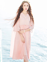 Ramie Cotton Women's Casual/Daily Simple Summer JacketsSolid V Neck  Sleeve Pink Linen Sheer
