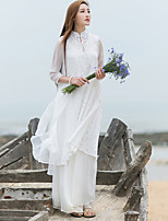 Ramie Cotton Women's Casual/Daily Chinoiserie Loose DressSolid Stand Maxi Long Sleeve White Cotton / Linen