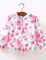 Девичий Блуза,На каждый день,Цветочный принт,Хлопок,Осень,Розовый