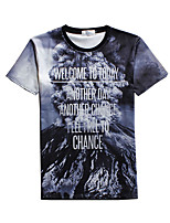 New Fashion Men  Volcano  Crew Neck Short Sleeve Men 3d T-shirt