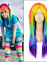Long Straight Ombre Rainbow Color Heat Resistant Synthetic Wigs Fashion Party Queen Weave Beauty Hair Anime Cosplay