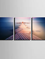 E-HOME® Stretched Canvas Art Wooden Road Extending From The Surface Of The Water Decoration Painting  Set Of 3