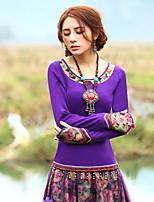Tee-shirt Femme,Fleur Sortie Vintage Printemps Automne Manches Longues Col Arrondi Violet Rayonne Polyester Spandex Moyen