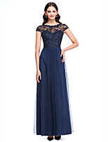 Lanting Bride®Floor-length Lace / Tulle Bridesmaid Dress - See Through A-line Jewel with Buttons / Lace