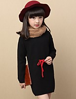 Girl's Casual/Daily Solid Blouse,Cotton Spring / Fall Black / Red