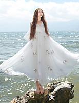 Feminino Solto Vestido,Casual Chinoiserie Bordado Decote V Altura dos Joelhos Manga ¾ Branco Poliéster Primavera / Verão Cintura MédiaSem