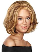 монолитным смешивать цвета средней длины высокого качества естественная волна волосы синтетический парик с челкой полной