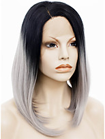IMSTYLE 14Fashion Gray Hair Black Root Natural Straight Synthetic Wigs Lace Front Soft lace
