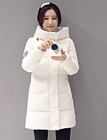 Women's Solid Pink / Red / White / Gray  CoatSimple Hooded Long Sleeve