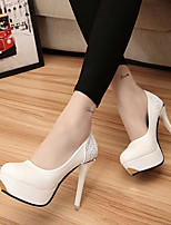 Women's Heels Spring Fall PU Outdoor Stiletto Heel White Black Walking