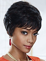 Layered Charming Short Straight  Human Hair Capless Wig 8 Inches