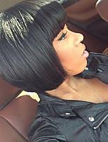 бразильские виргинские прямые человеческие волосы боб парик необработанный короткий человеческих волос парики с челкой для чернокожих