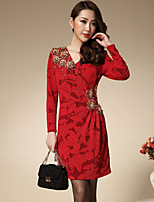 Boutique S Women's Formal Sophisticated Sheath DressJacquard V Neck Above Knee Long Sleeve Red Polyester Spring / Fall