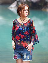 Our Story Going out Sophisticated Spring / Fall BlouseFloral Round Neck  Sleeve Red Polyester Sheer