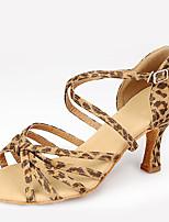 Chaussures de danse(Léopard) -Non Personnalisables-Talon Aiguille-Satin-Latine