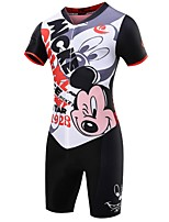 2017New MALCIKLO Cycling Women Jersey V-neck Short Sleeve Cycling Jersey Blue Cartoon Pattern Cycling Jumpsuits