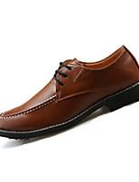 Черный Коричневый Серый-Мужской-Повседневный-Полиуретан-На плоской подошве-Удобная обувь-Спортивная обувь