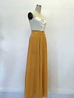 Women's Going out / Party/Cocktail / Club Sexy / Simple Swing DressSolid Strap Maxi Sleeveless Yellow Polyester Summer