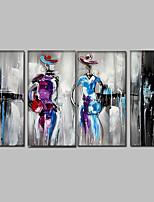 Ручная роспись Абстракция / Люди / Абстрактные портреты Картины маслом,Modern / Средиземноморье 4 панели Холст Hang-роспись маслом For