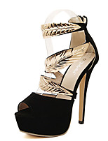 Women's Sandals Summer Peep Toe Fleece Casual Stiletto Heel Others Black Others
