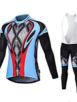 MALCIKLO® Maillot et Cuissard Long à Bretelles de Cyclisme Homme Manches longues VéloRespirable / Séchage rapide / Zip frontal /