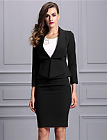 Baoyan Women's Peter Pan Collar 3/4 Length Sleeve Above Knee suit-160386