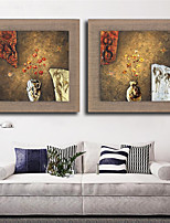 2 Panel Oil Painting Modern Abstract Flower Hand Painted On Natural Linen With Stretched Frame