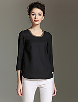 BURDULLY  Going out Simple Spring / Fall T-shirtSolid Round Neck Sleeve Polyester Medium